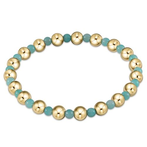 Gold Grateful Pattern 6mm Bead Bracelet Amazonite