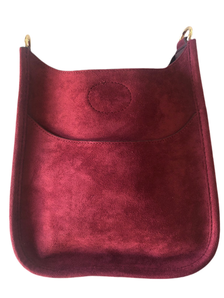 Mini Faux Suede Messenger (Strap not Included)  -  Burgundy