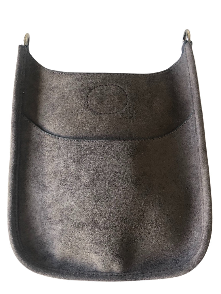 Mini Faux Suede Messenger (Strap not Included)  -  Grey
