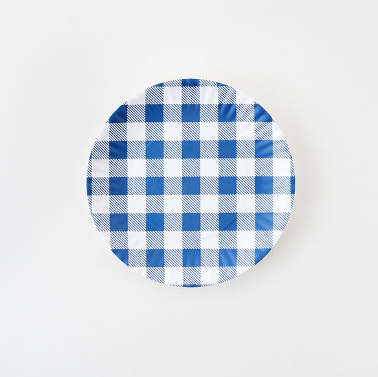 "Blue Gingham ""Paper"" Plate Set/4"