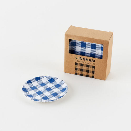 Blue Gingham Plate Coaster