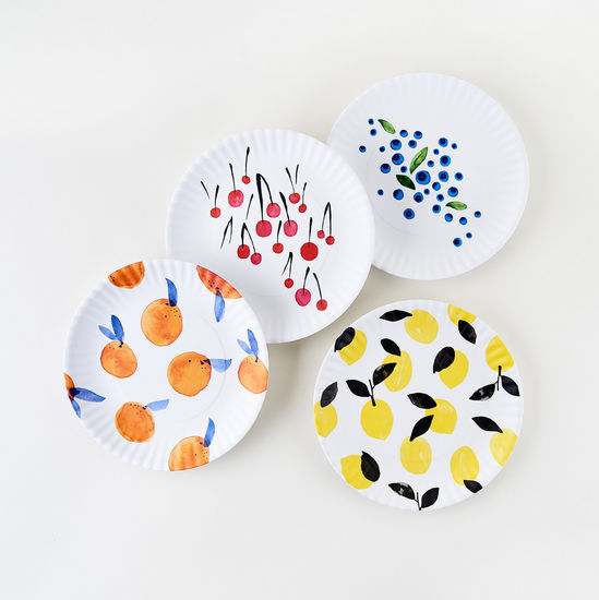 "Fruit ""Paper"" Plates Set/4"