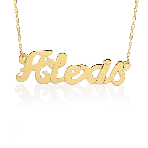 Large Script Nameplate Necklace Custom Made to Order