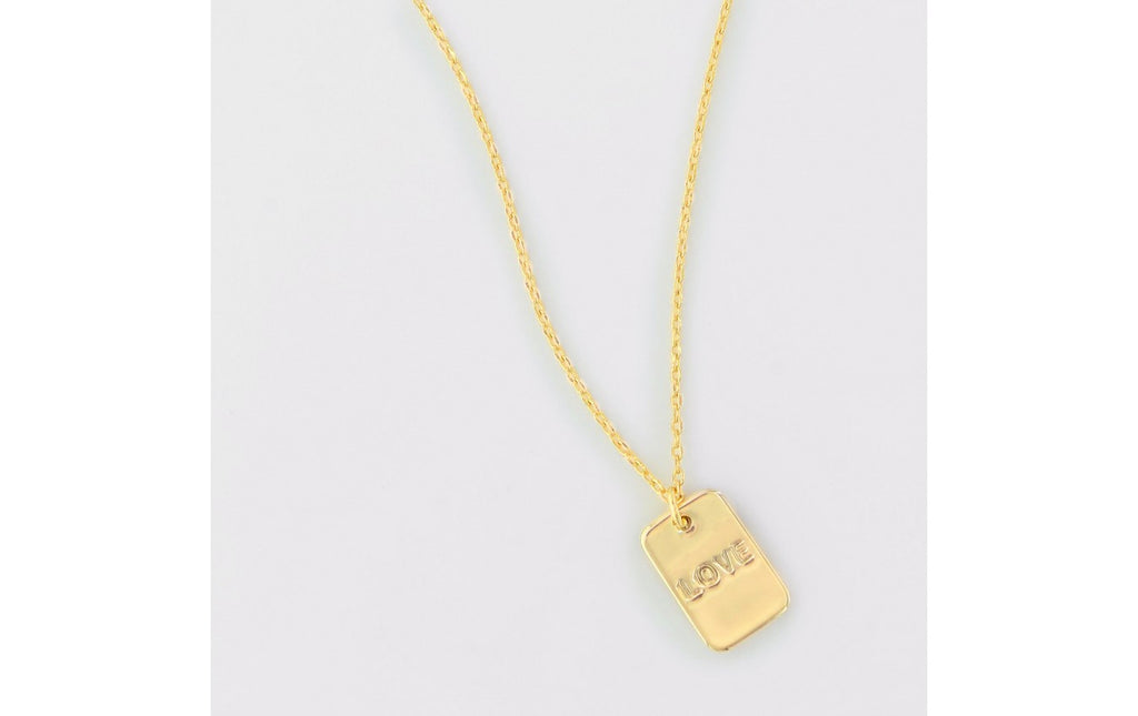 Love Dog Tag Necklace Gold
