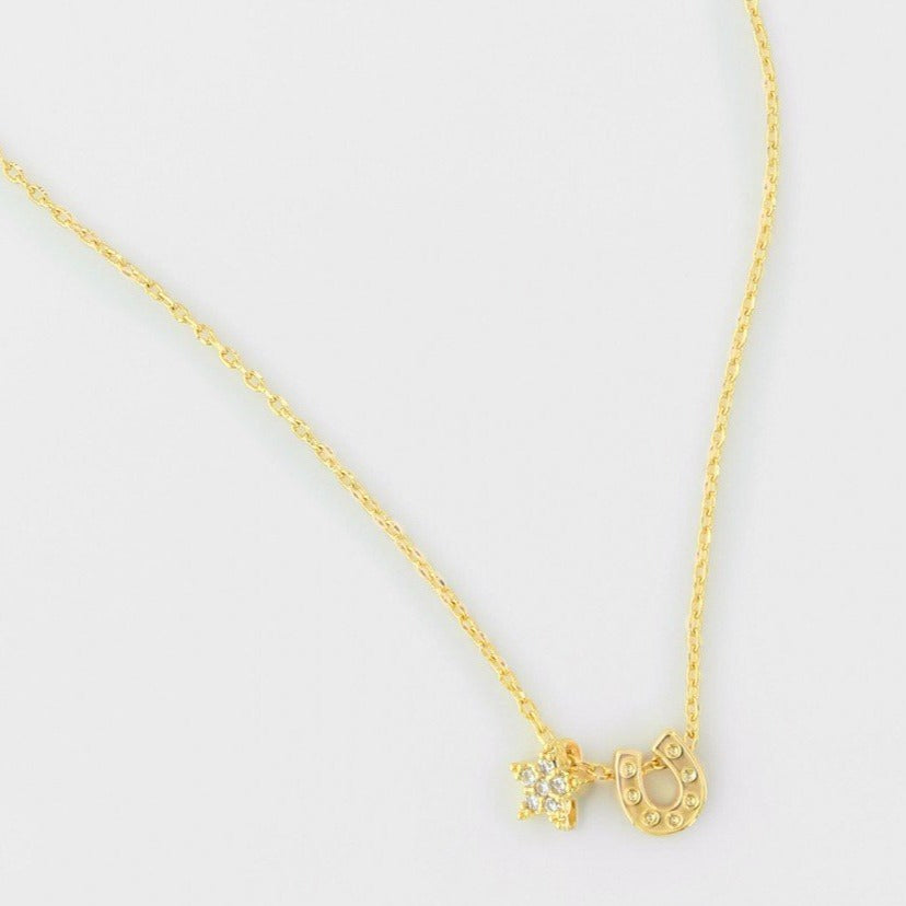 Star and Horseshoe Necklace Gold