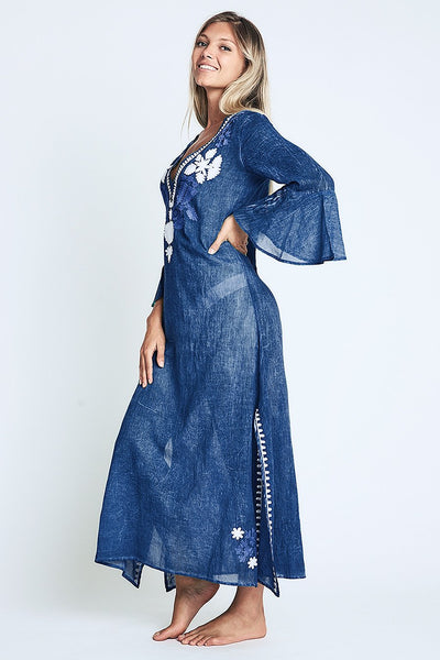 Fez Long Maxi Tunic Summer Dress Blue