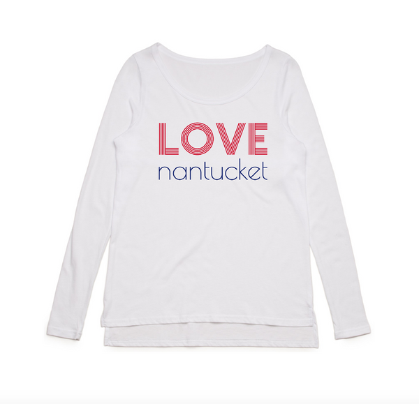 Love Nantucket Long Sleeve Tee White