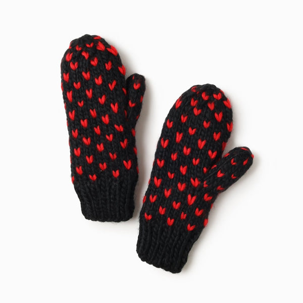 Little Hearts Fair Isle Mittens Black