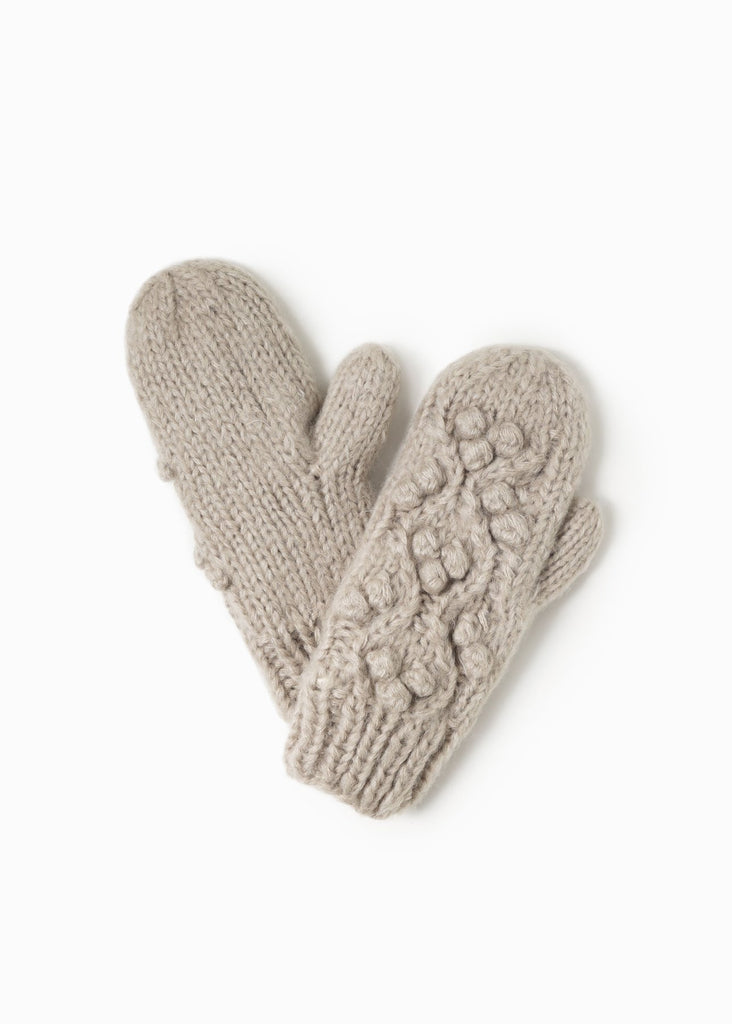 Snowball Cable Mittens - Taupe