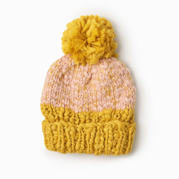 Two Tone Mango Yarn Pom Pom Hat Blush