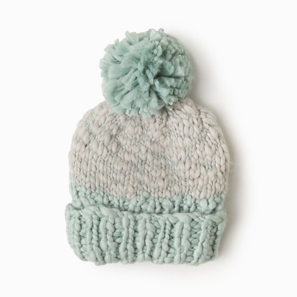 Two Tone Mango Yarn Pom Pom Hat Mint