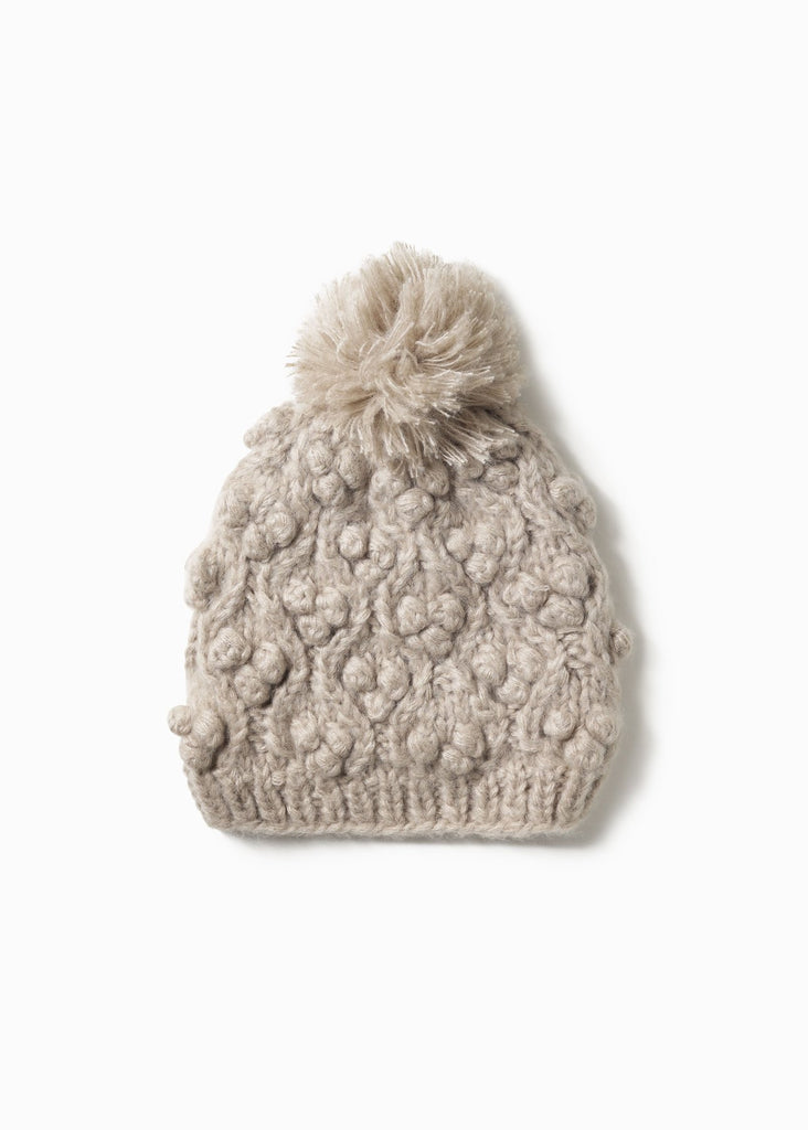 Snowball Cable Hat - Taupe