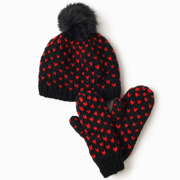 Little Hearts Fair Isle Pom Pom Hat Black