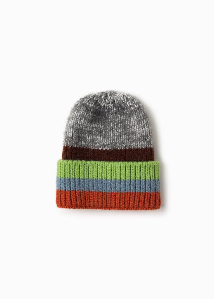 Cotton Candy Striped Beanie - Grey