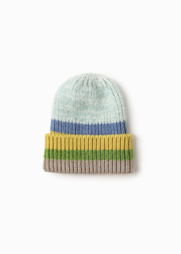 Cotton Candy Striped Beanie - Mint