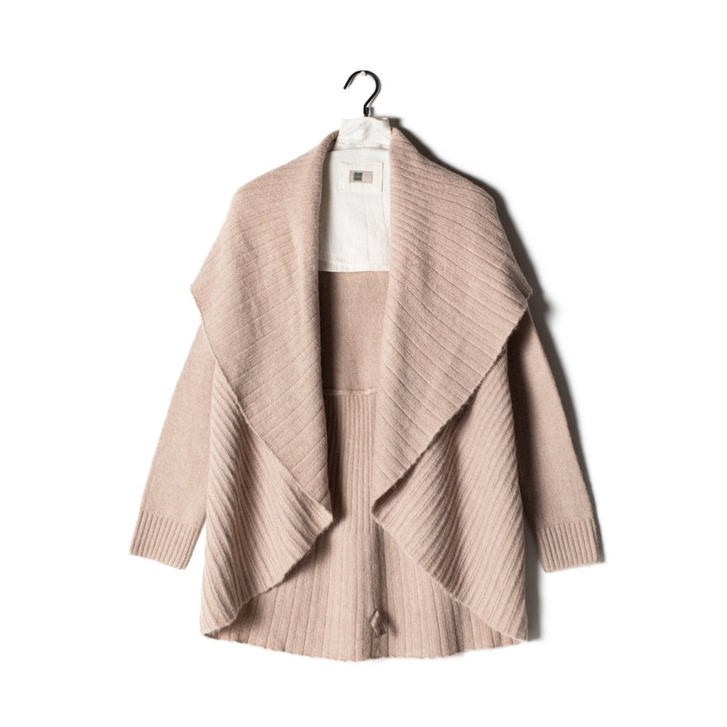 Pleats Shawl Cardigan - Blush