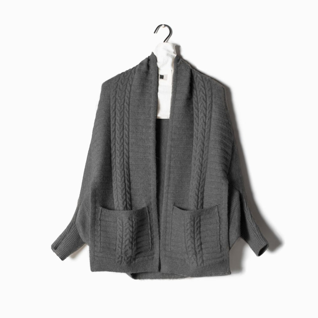Cable Pocket Cape Cardigan - Charcoal