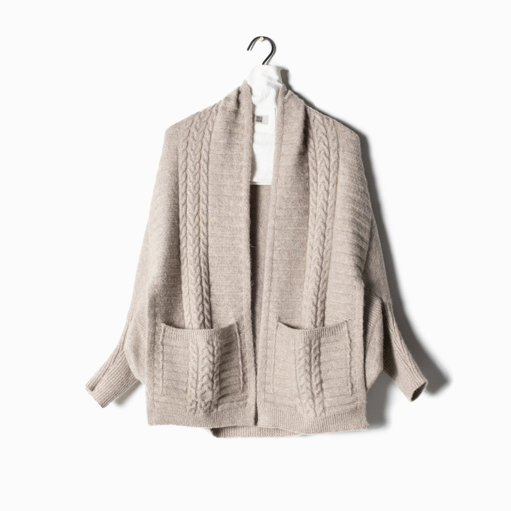 Cable Pocket Cape Cardigan - Taupe
