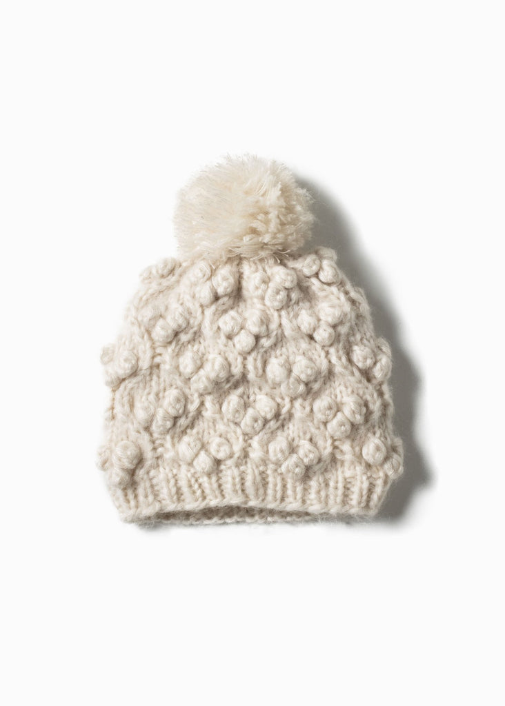 Snowball Cable Hat - Ivory