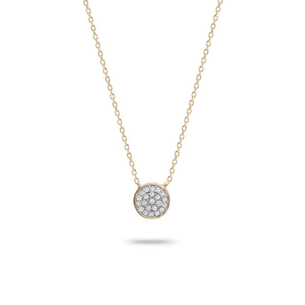 14K Solid Pave Disc Necklace