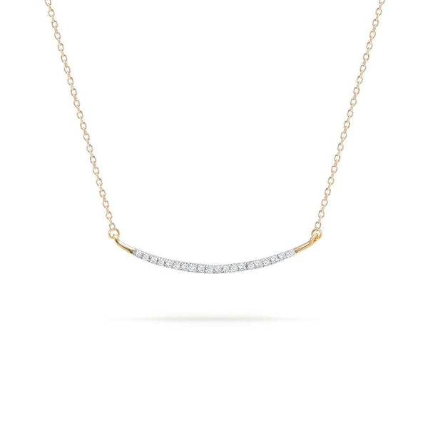 14K Large Pave Curve Necklace