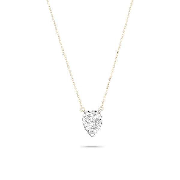 14K Solid Pave Teardrop Necklace