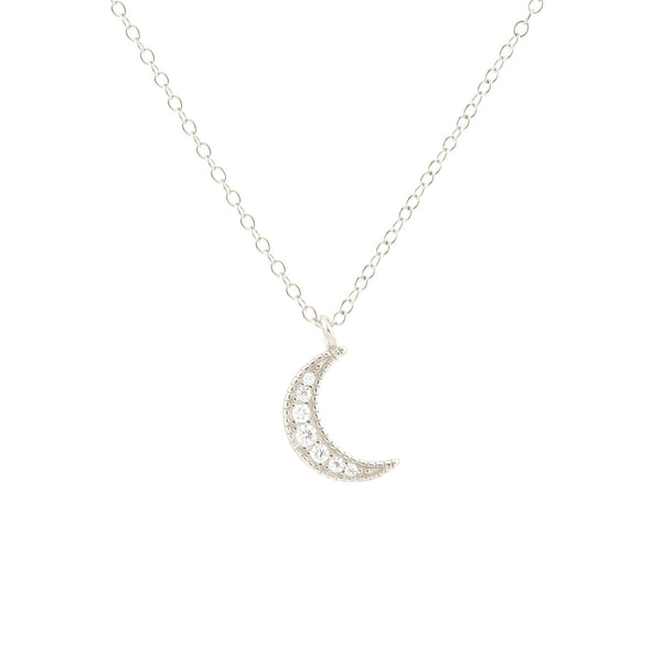 Crescent Moon Pave Necklace