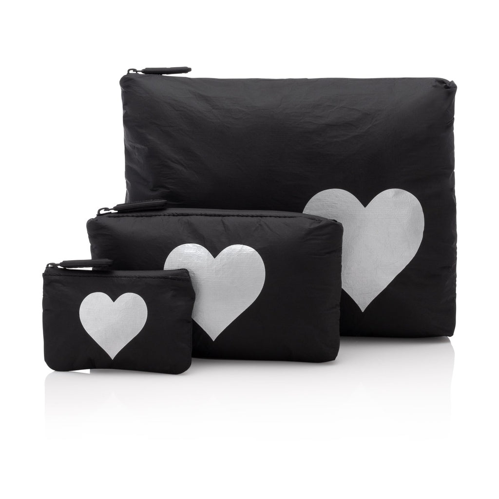 Black Pouch Collection with a Metallic Silver Heart Pouches