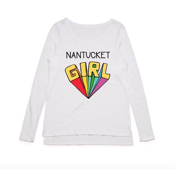 Nantucket Girl Long Sleeve Tee White