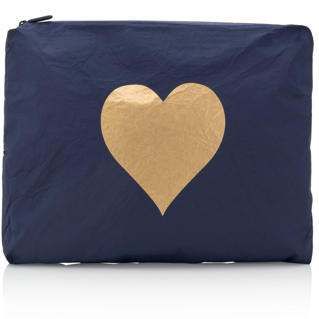 Jumbo Pouch Navy Collection with a Metallic Gold Heart