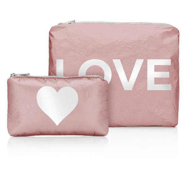 "Shimmering Pink Sands with White ""LOVE"" & a Heart Pouches"