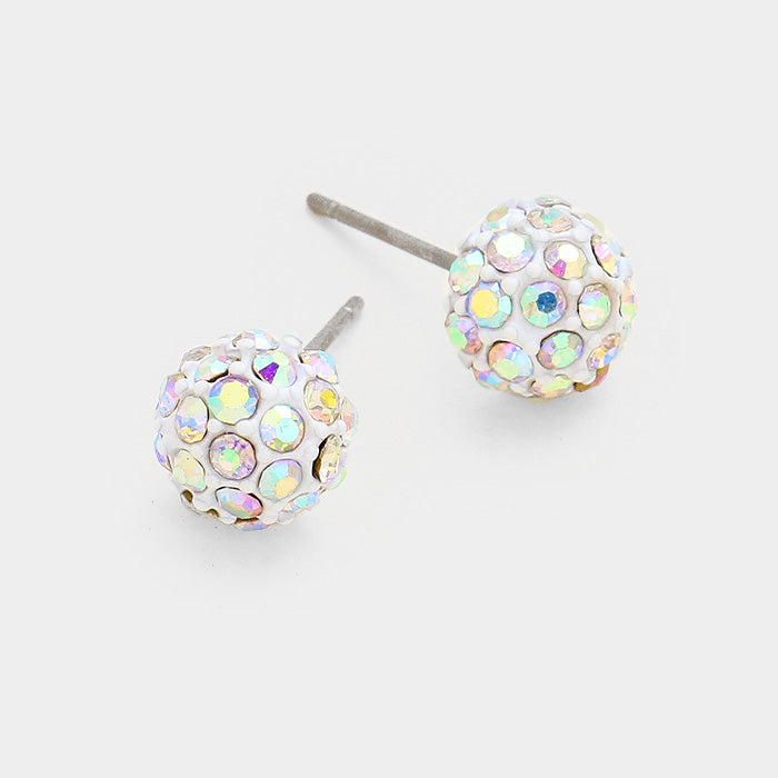 8mm Disco Ball Earring - White