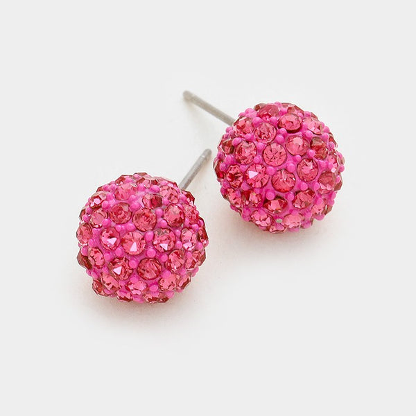 10mm Disco Ball Earring - Rose