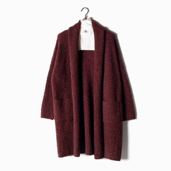 Boucle Shawl Collar Cardigan - Burgundy