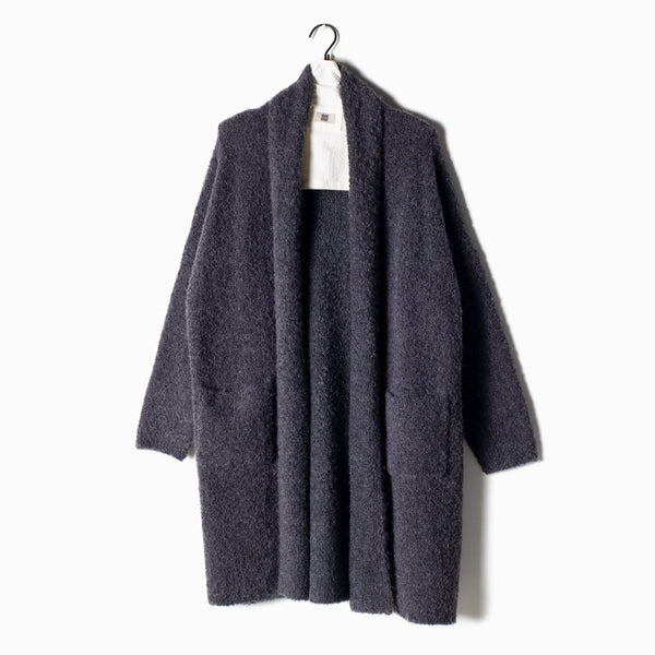 Boucle Shawl Collar Cardigan - Midnight