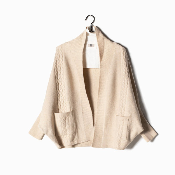 Cable Cape Cardigan - Beige