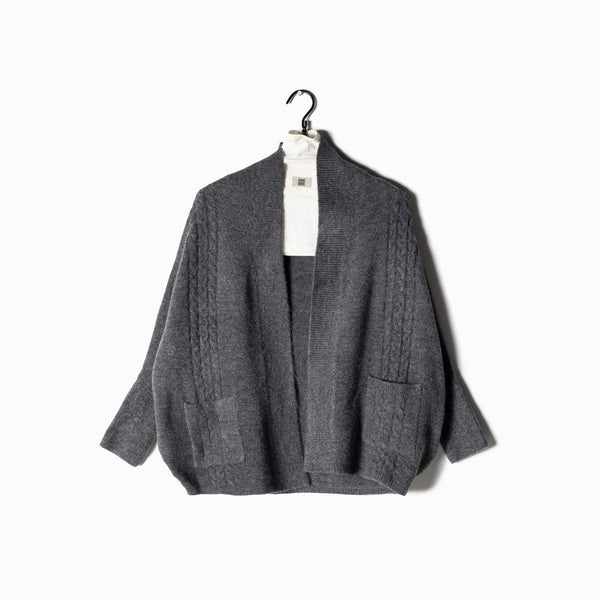 Cable Cape Cardigan - Charcoal