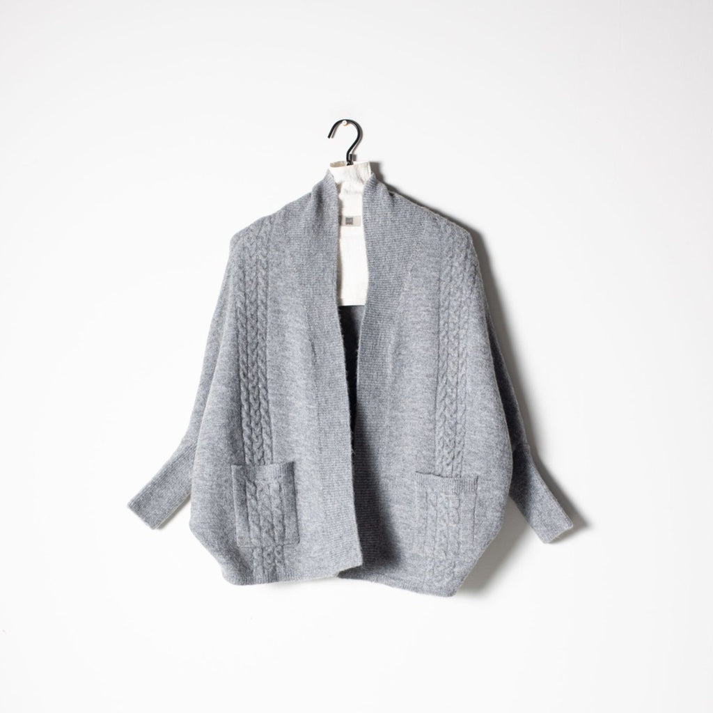 Cable Cape Cardigan - Grey