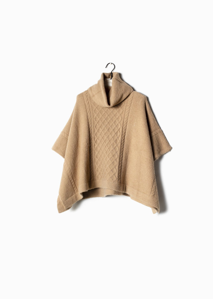 Cable Turtleneck Poncho - Camel