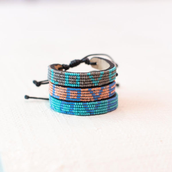 Grey and Turquoise Love Bracelet