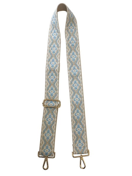 "2"" Adjustable Embroidered Medallion Bag Strap - Beige/Light Blue"