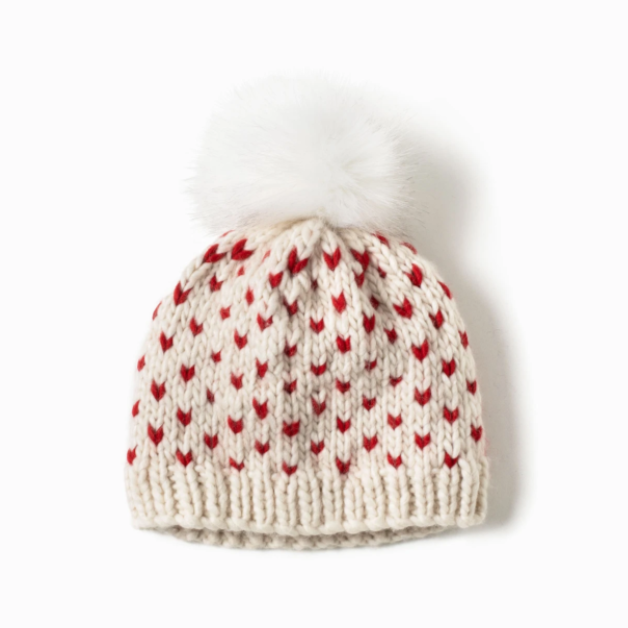 Little Hearts Fair Isle Pom Pom Hat Ivory
