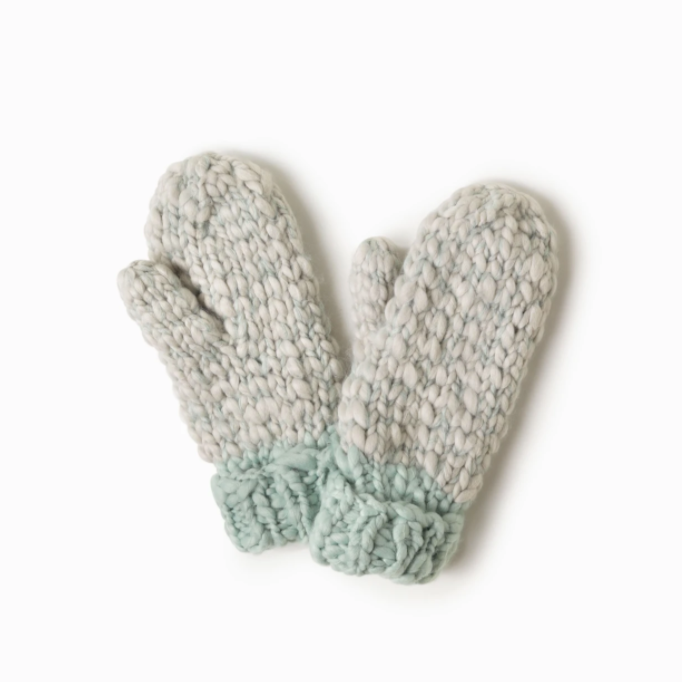 Two Tone Mango Yarn Mittens Mint