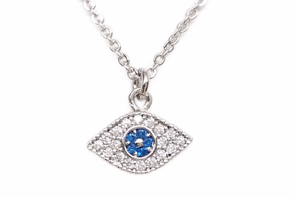 Pave Blue Eye Necklace
