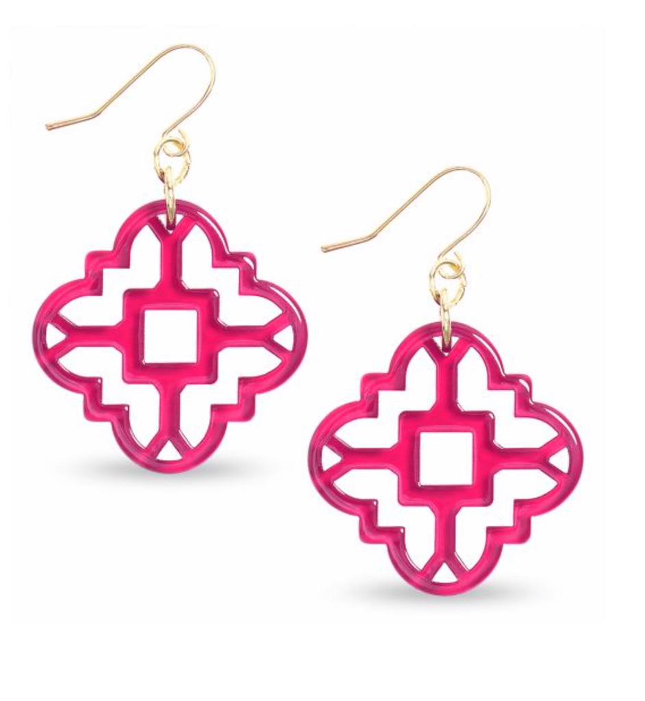 Mosaic Earrings - Hot Pink