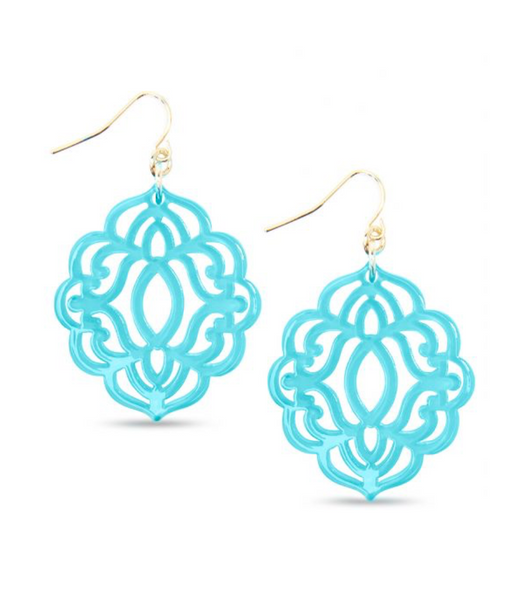 Baroque Resin Drop Earring - Bright Blue