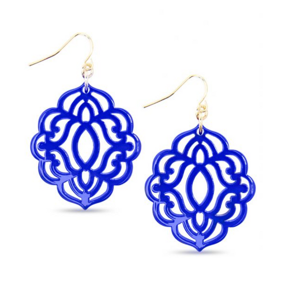 Baroque Resin Drop Earring - Cobalt