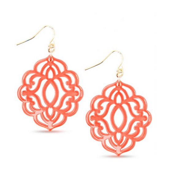 Baroque Resin Drop Earring - Coral
