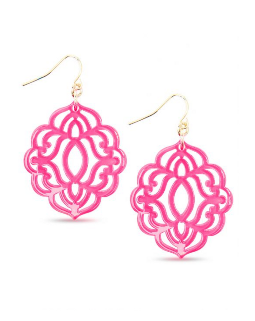 Baroque Resin Drop Earring - Neon Pink