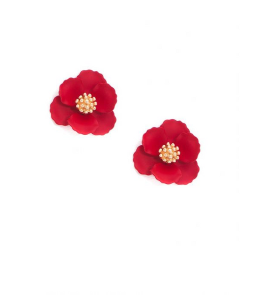 Mini Floral Stud Earring - Red
